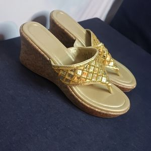 Gold scale wedge sandals size 9